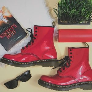 NEW Dr. Marten Patent Leather Cherry Red Boots
